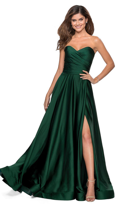 La Femme - 28608 Strapless Satin High Slit A-Line Gown In Green