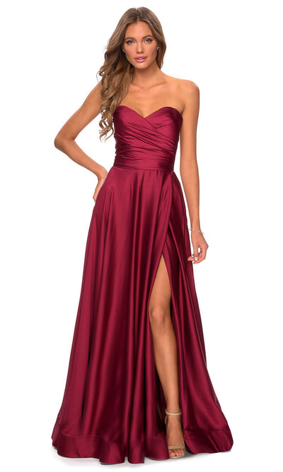 La Femme - 28608 Strapless Satin High Slit A-Line Gown In Red