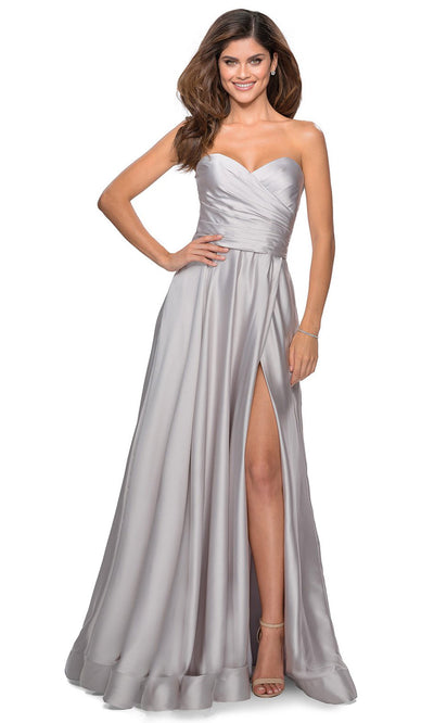La Femme - 28608 Strapless Satin High Slit A-Line Gown In Silver & Gray