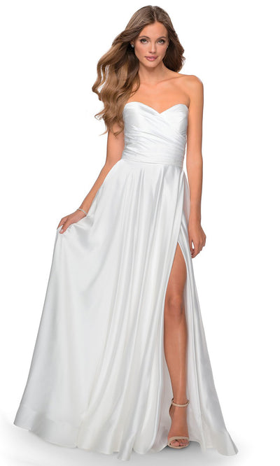 La Femme - 28608 Strapless Satin High Slit A-Line Gown In White & Ivory