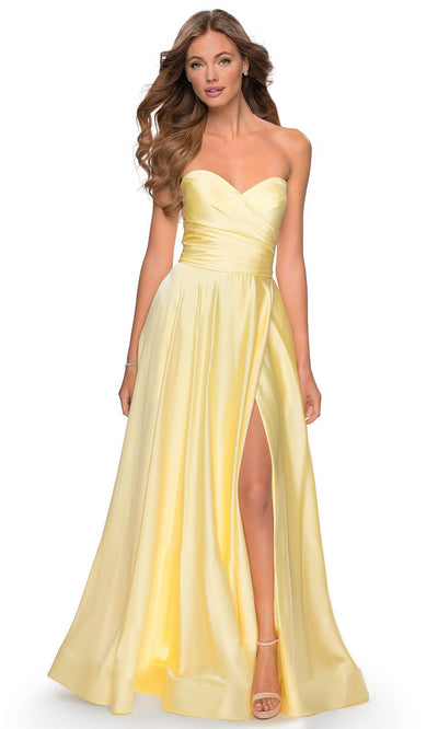 La Femme - 28608 Strapless Satin High Slit A-Line Gown In Yellow