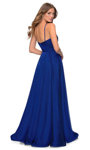 La Femme - 28611 V-Neck High Slit Chiffon A-Line Gown In Blue