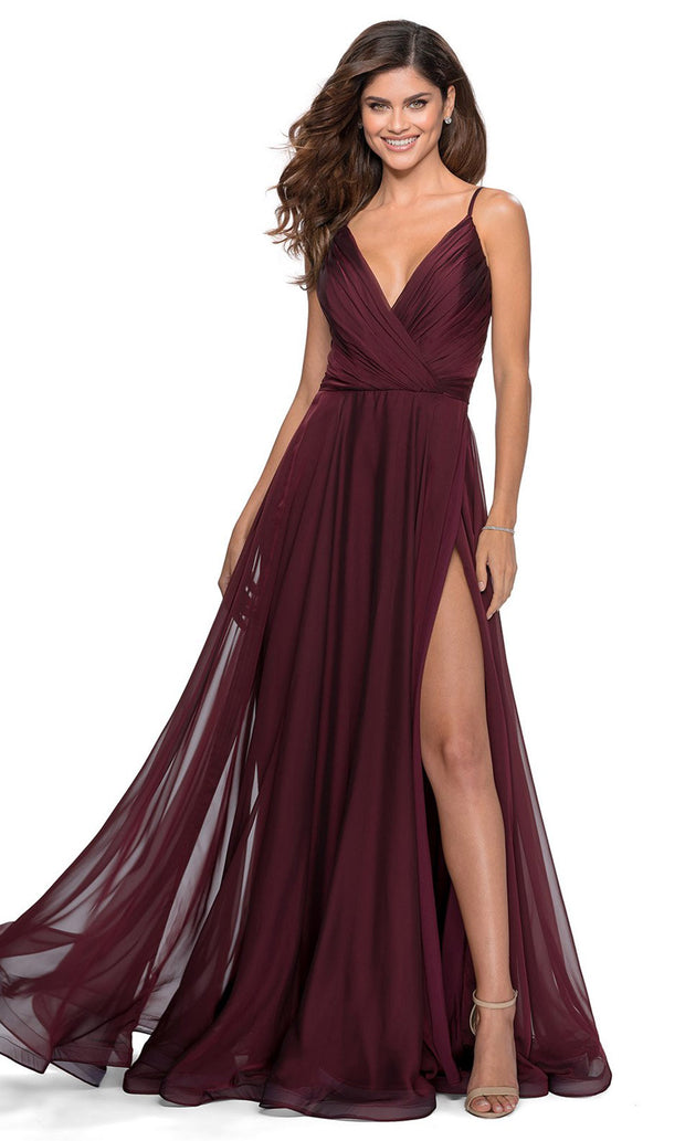 La Femme - 28611 V-Neck High Slit Chiffon A-Line Gown In Red