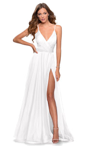 La Femme - 28611 V-Neck High Slit Chiffon A-Line Gown In White & Ivory