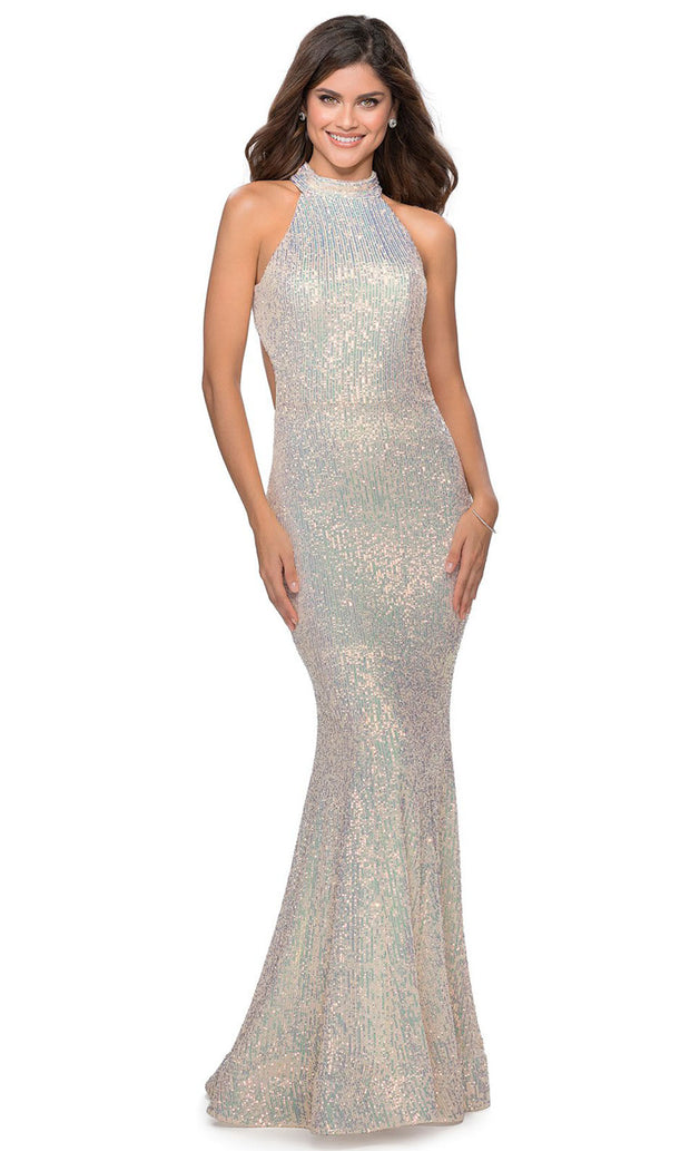 La Femme - 28612 Cut-Out Racerback Full Sequin Mermaid Gown In Champagne & Gold