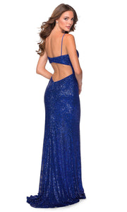La Femme - 28616 Full Sequin Fitted High Slit Sheath Gown In Blue