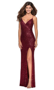 La Femme - 28616 Full Sequin Fitted High Slit Sheath Gown In Burgundy