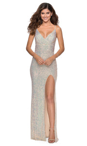 La Femme - 28616 Full Sequin Fitted High Slit Sheath Gown In Champagne & Gold