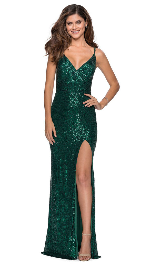 La Femme - 28616 Full Sequin Fitted High Slit Sheath Gown In Green