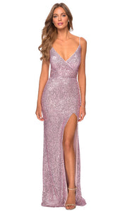 La Femme - 28616 Full Sequin Fitted High Slit Sheath Gown In Pink