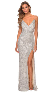 La Femme - 28616 Full Sequin Fitted High Slit Sheath Gown In Silver & Gray