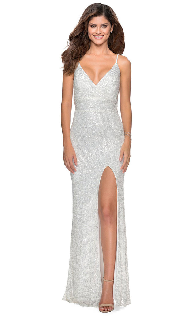 La Femme - 28616 Full Sequin Fitted High Slit Sheath Gown In White & Ivory