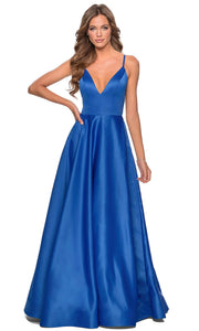 La Femme - 28628 Plunging V-Neck Satin A-Line Gown In Blue