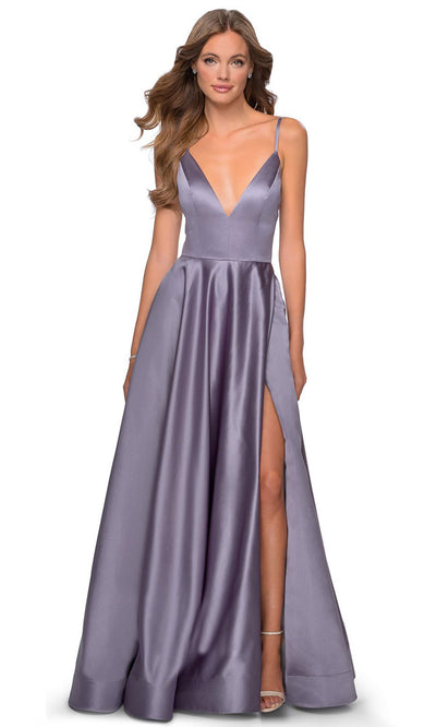 La Femme - 28628 Plunging V-Neck Satin A-Line Gown In Purple