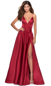 La Femme - 28628 Plunging V-Neck Satin A-Line Gown In Red
