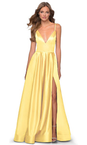 La Femme - 28628 Plunging V-Neck Satin A-Line Gown In Yellow