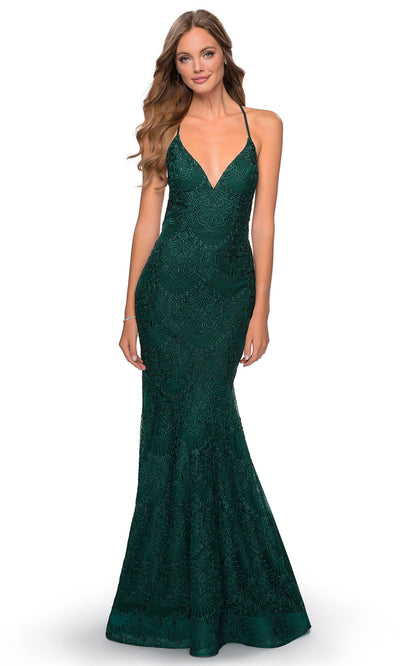 La Femme - 28643 Open Back Beaded Lace Mermaid Gown In Green
