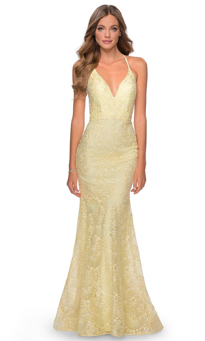 La Femme - 28643 Open Back Beaded Lace Mermaid Gown In Yellow