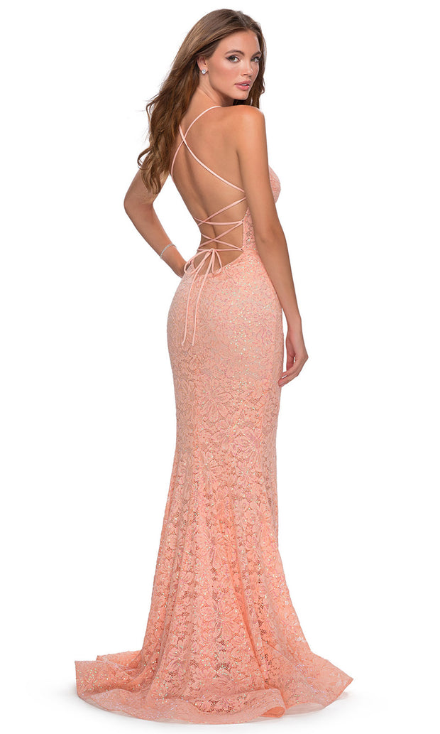 La Femme - 28647 Plunging V-Neck Sequin Lace Mermaid Gown In Coral & Orange