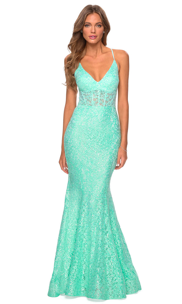 La Femme - 28647 Plunging V-Neck Sequin Lace Mermaid Gown In Green