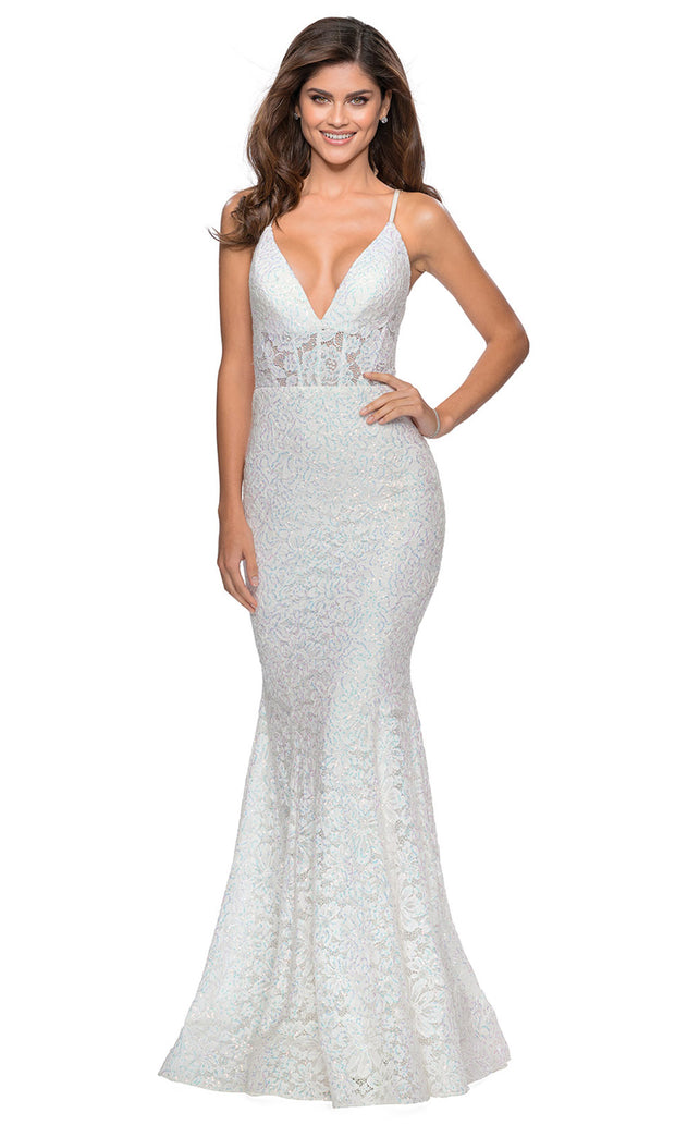 La Femme - 28647 Plunging V-Neck Sequin Lace Mermaid Gown In White & Ivory