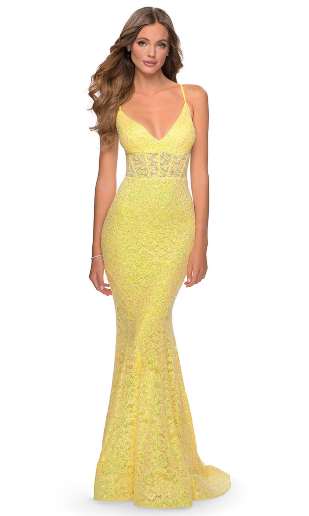La Femme - 28647 Plunging V-Neck Sequin Lace Mermaid Gown In Yellow
