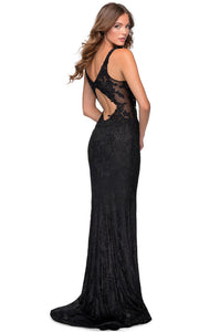 La Femme - 28648 Laced And Beaded Evening Gown In Black