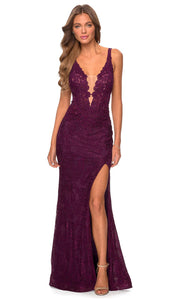 La Femme - 28648 Laced And Beaded Evening Gown In Purple