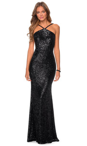 La Femme - 28650 Backless Allover Sequin Fitted Gown In Black