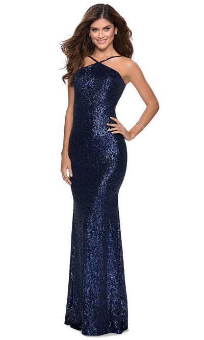 La Femme - 28650 Backless Allover Sequin Fitted Gown In Blue