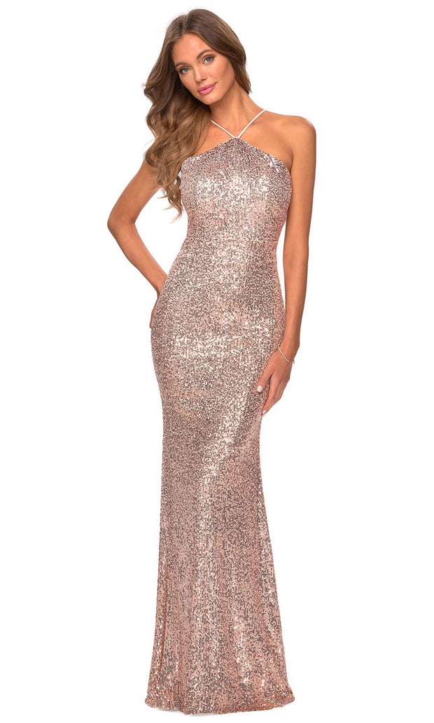 La Femme - 28650 Backless Allover Sequin Fitted Gown In Champagne & Gold