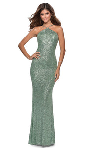 La Femme - 28650 Backless Allover Sequin Fitted Gown In Green