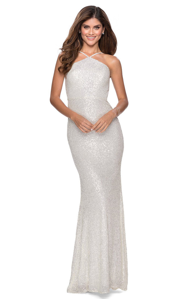 La Femme - 28650 Backless Allover Sequin Fitted Gown In White & Ivory
