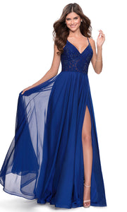 La Femme - 28664 Sleeveless Lace Bodice Chiffon A-Line Gown In Blue