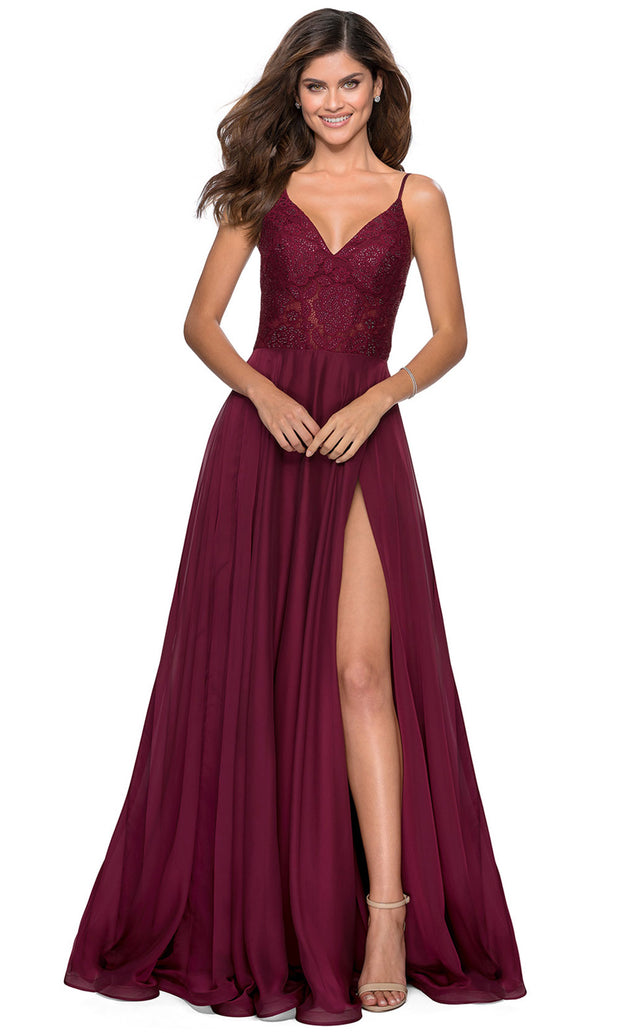 La Femme - 28664 Sleeveless Lace Bodice Chiffon A-Line Gown In Red