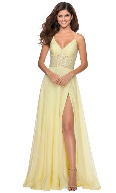 La Femme - 28664 Sleeveless Lace Bodice Chiffon A-Line Gown In Yellow