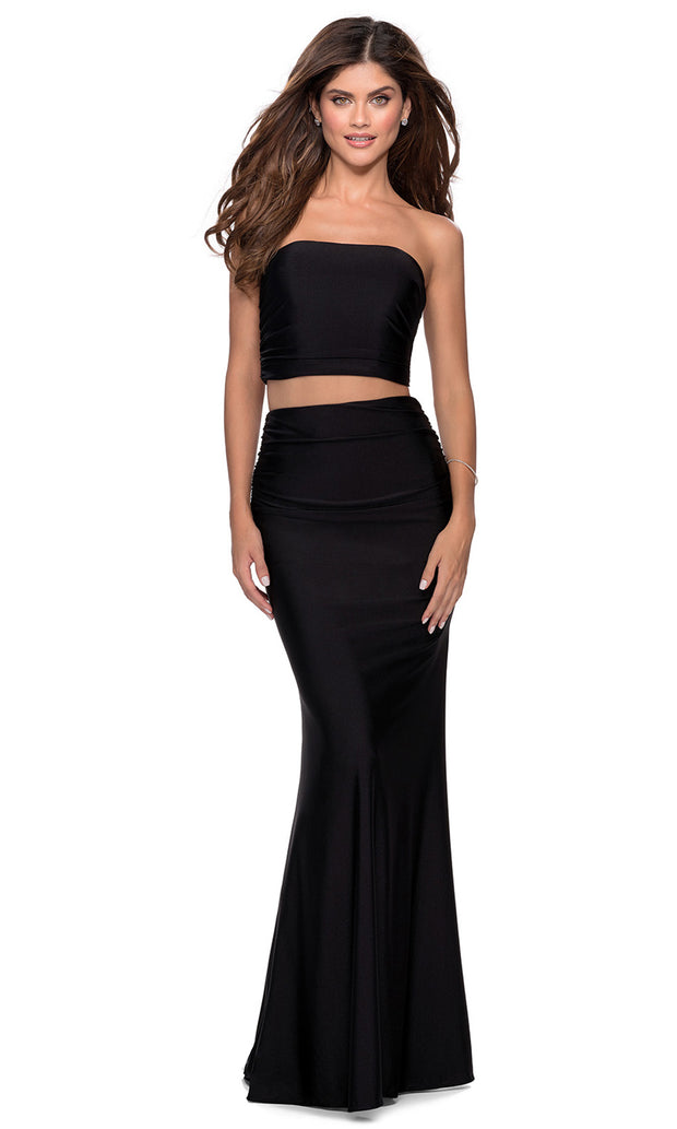 La Femme - 28703 Tube Top Fitted Two-Piece Long Jersey Dress In Black