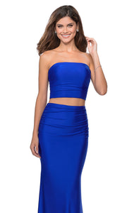 La Femme - 28703 Tube Top Fitted Two-Piece Long Jersey Dress In Blue