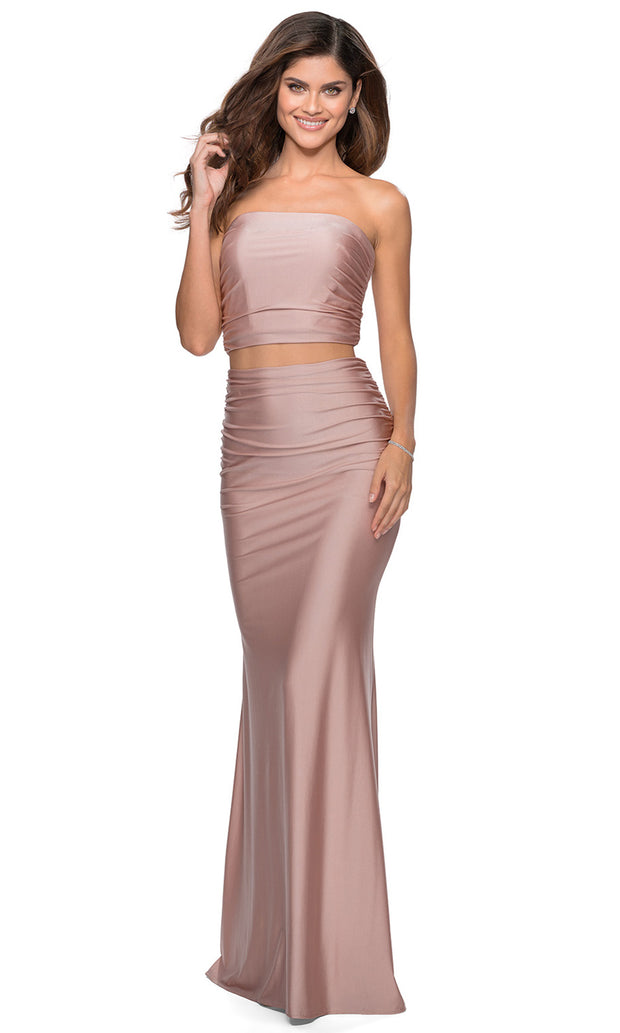 La Femme - 28703 Tube Top Fitted Two-Piece Long Jersey Dress In Mauve