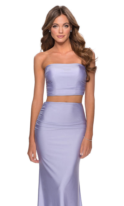 La Femme - 28703 Tube Top Fitted Two-Piece Long Jersey Dress In Purple