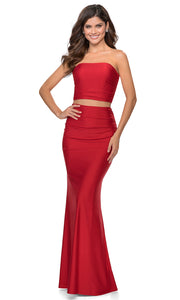 La Femme - 28703 Tube Top Fitted Two-Piece Long Jersey Dress In Red