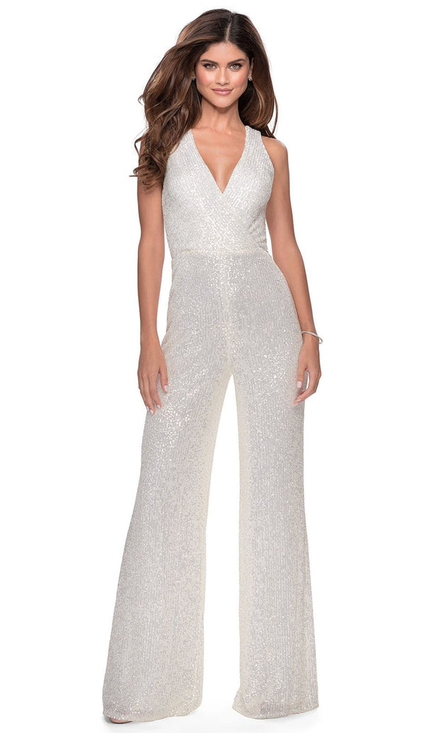 La Femme - 28719 Sequin-Ornate Jumpsuit In White & Ivory