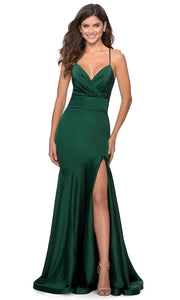 La Femme - 28720 Plunged V-Neck Drop Waist Mermaid Gown In Green