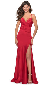 La Femme - 28720 Plunged V-Neck Drop Waist Mermaid Gown In Red