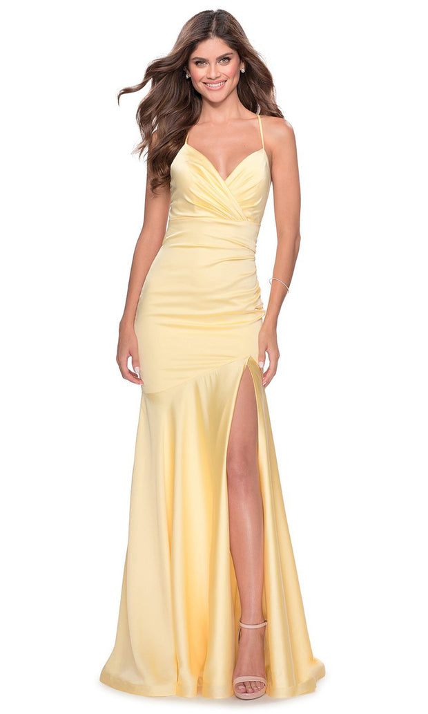 La Femme - 28720 Plunged V-Neck Drop Waist Mermaid Gown In Yellow