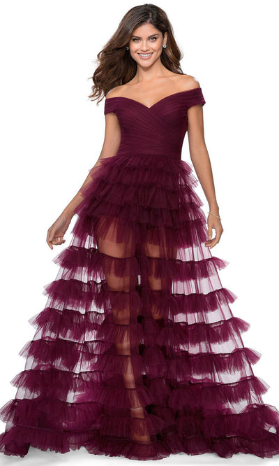 La Femme - 28804 Off Shoulder Tulle Tiered Dress In Red and Purple