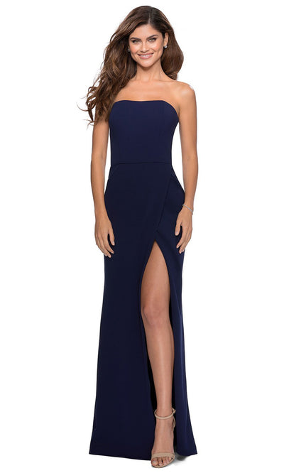 La Femme - 28835 Strapless Jersey Evening Dress In Blue