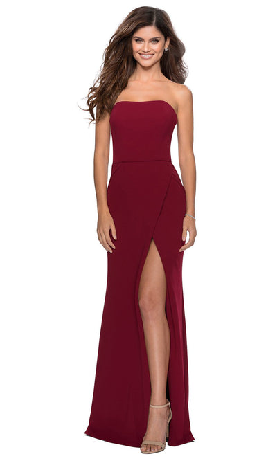 La Femme - 28835 Strapless Jersey Evening Dress In Red