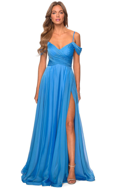 La Femme - 28942 Draped Off Shoulder A-Line Dress In Blue