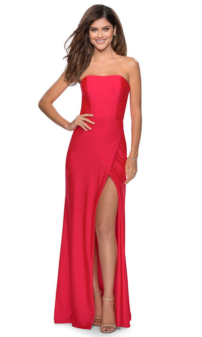 La Femme - 28944 Plain Strapless Slit Gown In Red and Pink